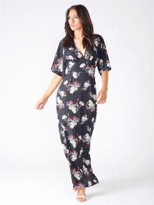 Black Floral Side Split Maxi Dress