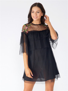 Black Double Layer Embroidered Mesh Dress
