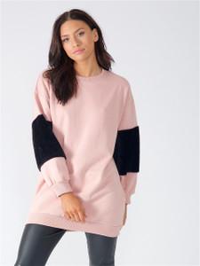 Pink Oversized Fur Sleeve Jumper