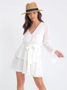 White Sheer Bell Sleeve Tier Skirt Tie Dress