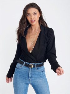 Black Double Lapel Plunge Neck Bodysuit