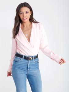 Pink Double Lapel Plunge Neck Bodysuit
