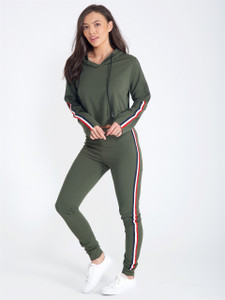 Khaki Sports Stripe Hoodie and Jogger Tracksuit