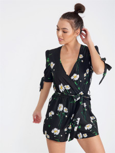 Black Floral Tie Sleeve Playsuit