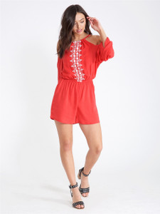 Coral Cold Shoulder Embroidered Playsuit