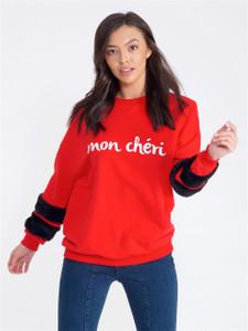 "Red ""Mon Cheri"" Fur Sleeve Sweat"