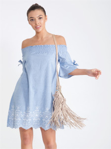 Blue Bardot Embroidered Dress