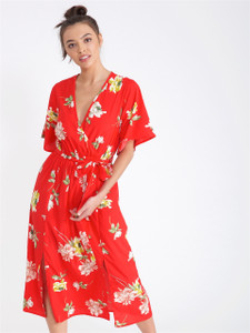 Red Floral Double Split Skirt Midi Dress