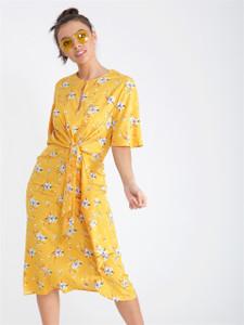 Yellow Floral Knot Waist Maxi Dress