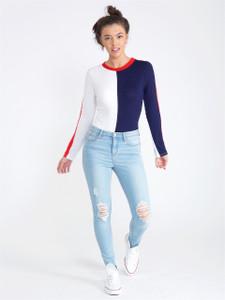 Colour Block Jersey Bodysuit