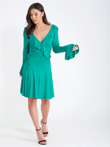 Green Ruffle Neck Wrap Dress
