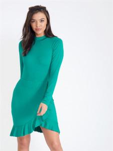 Green High Neck Ruffle Skirt Dress