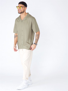 Khaki Cuban Collar Short Sleeve Shirt