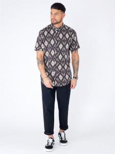 Black Aztec Print Short Sleeve Shirt