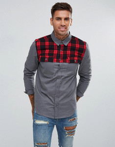 Grey Full Sleeve Checked Shoulder Cotton Shirt