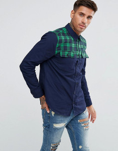 Navy Long Sleeve Checked Shoulder Cotton Shirt