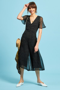 Black Ditsy Spot Tea Jumpsuit