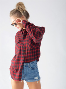Red Check Full Sleeve Cotton Shirt