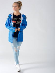 Blue Waterproof Hooded Rain Jacket