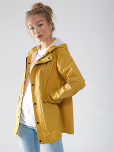 Mustard Waterproof Hooded Rain Jacket