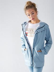 Light Blue Waterproof Hooded Rain Jacket