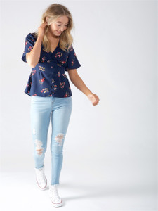 Navy Floral Button Up Tea Top