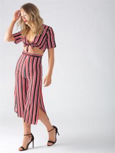 Multi Stripe Side Split 3/4 Culottes