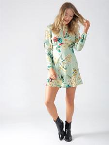 Mint Floral Cold Shoulder Mini Dress