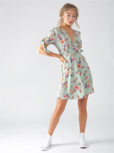 Green Floral Button Up Tea Dress With Bow Sleeves