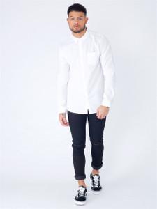 White Long Sleeve Pocket Shirt
