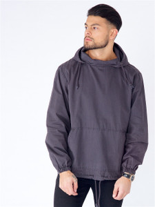 Navy Washed Cotton Hooded Jacket