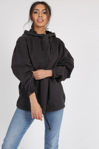 Navy Washed Cotton Over the Head Cagoule Jacket