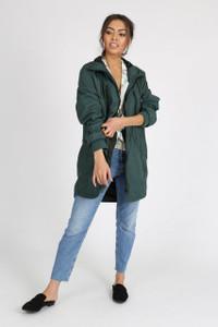 Green Longline Waterproof Hooded Rain Jacket