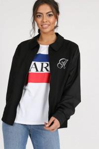 Black Embroidered Zip Up Jacket