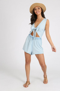 Blue Chambray Cut Out Tie Front Playsuit