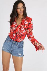 Multi Print Floral Ruffle Frill Wrap Bodysuit