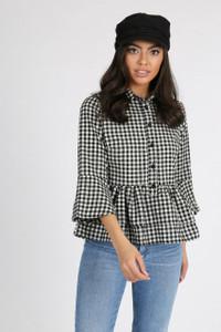 Gingham Check Double Layer Peplum Shirt
