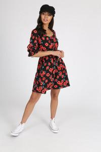 Black Poppy Print Shirred Waist Mini Dress