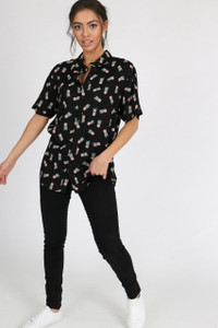 Black Ditsy Pineapple Print Collared Shirt