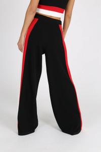 Black Sports Stripe Wide Leg Trouser