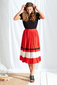 Sports Stripe Pleated Midi Skirt