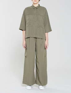 Olive Patch Pocket Tencel Shirt