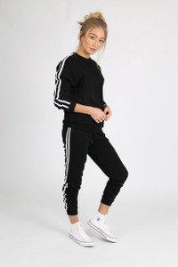 Black Sports Luxe Stripe Sleeve Jumper
