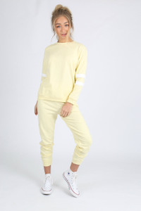 Yellow Sports Luxe Stripe Trousers