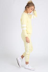 Yellow Sports Luxe Stripe Sleeve Jumper