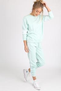 Mint Sports Luxe Stripe Sleeve Jumper