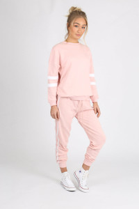 Pink Sports Luxe Stripe Trousers