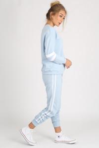Blue Sports Luxe Stripe Sleeve Jumper