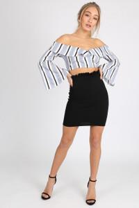 Black High Waist Paper Bag Mini Skirt