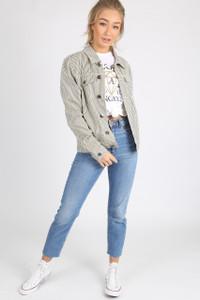 Black White Stripe Cotton Denim Jacket
